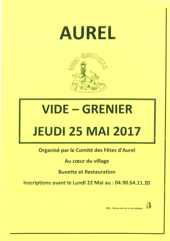 VIDE GRENIER AUREL 2017