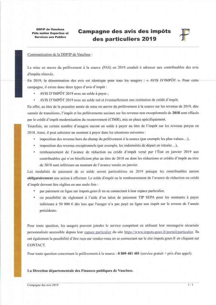CAMPAGNE DES AVIS DES IMPOTS DES PARTICULIERS 2019