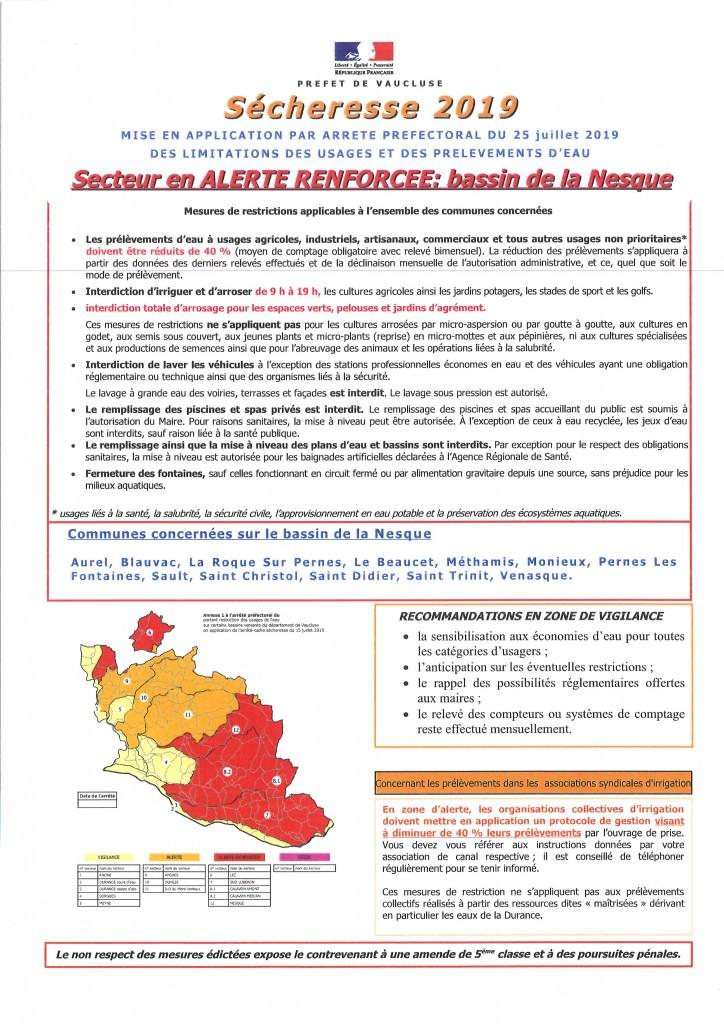 SECHERESSE 2019 BASSIN DE LA NESQUE