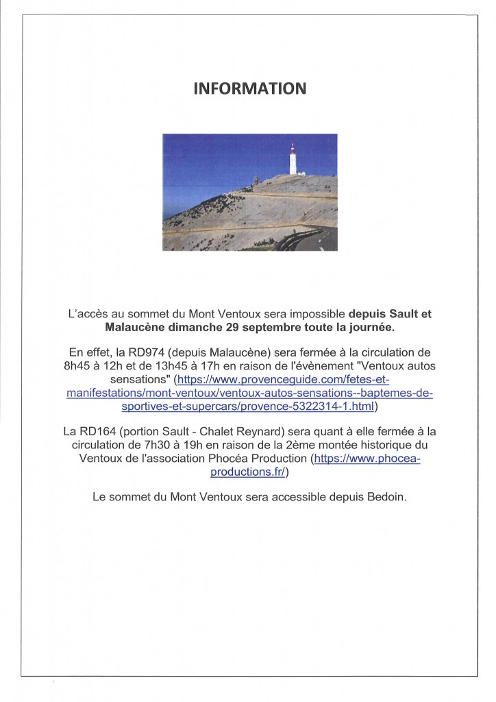 INFORMATION MONT VENTOUX EVENEMENT
