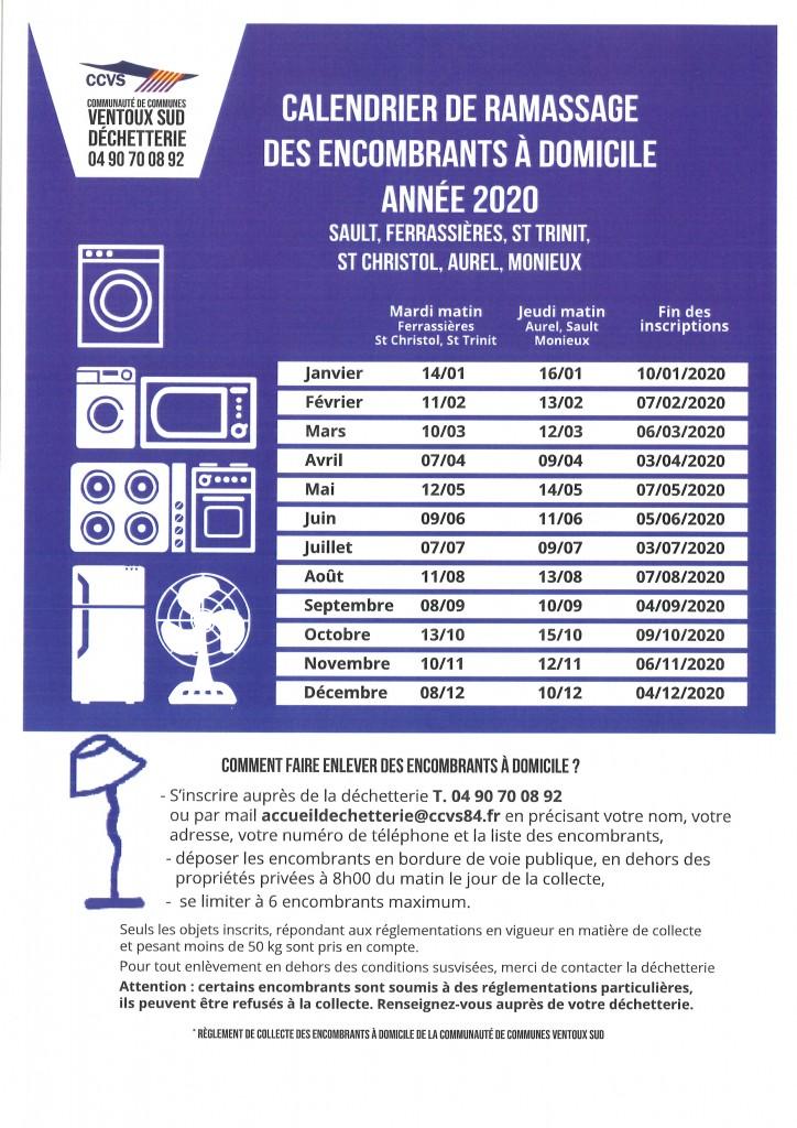 CALENDRIER DE RAMASSAGE DES ENCOMBRANTS A DOMICILE ANNEE 2020