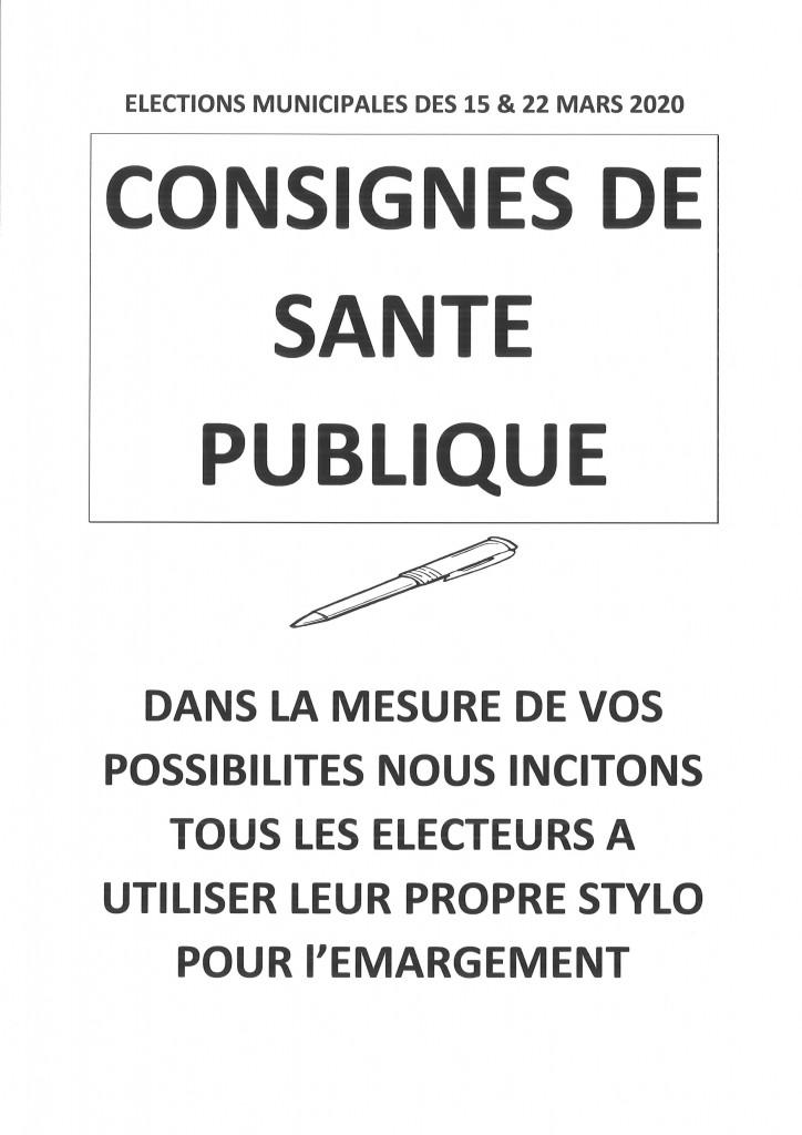 CONSIGNES SANTE PUBLIQUE