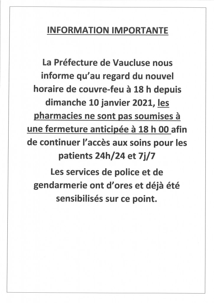 INFO PHARMACIE COUVRE FEU